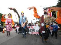 台湾移工联盟游行行前记者会在凯达格兰大道前举行